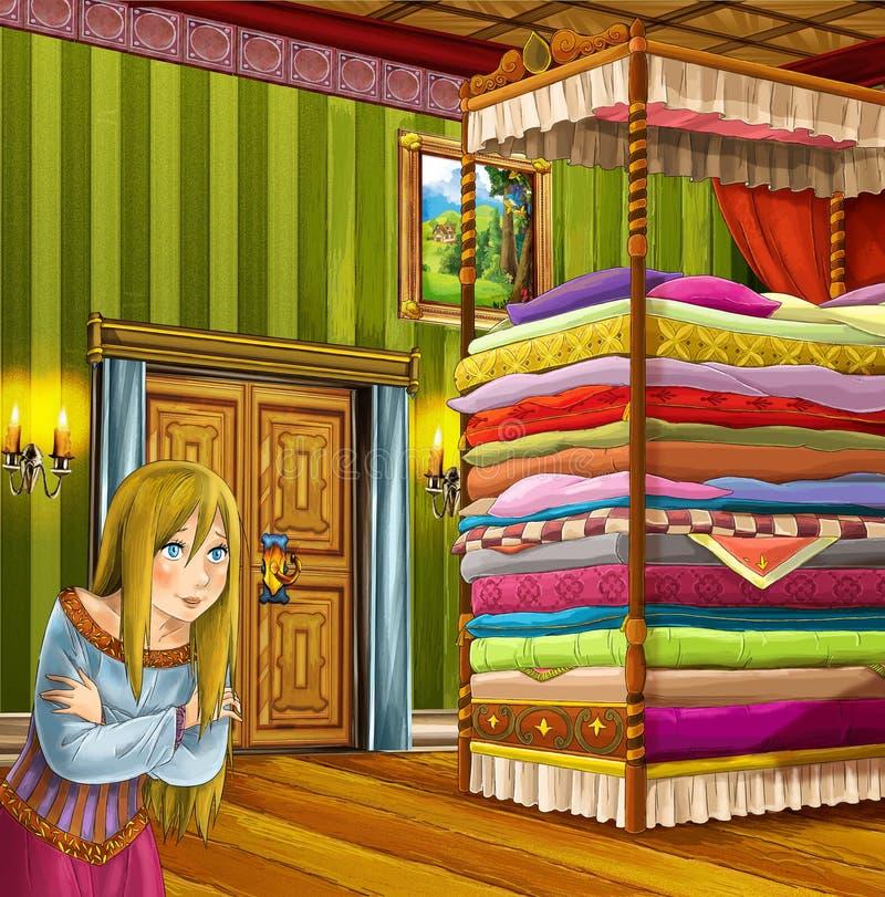 Prinzessin und die Erbse - die Prinzessinschlösser - Ritter und Feen - schöner Manga Girl - Illustration für die Kinder lizenzfreie abbildung