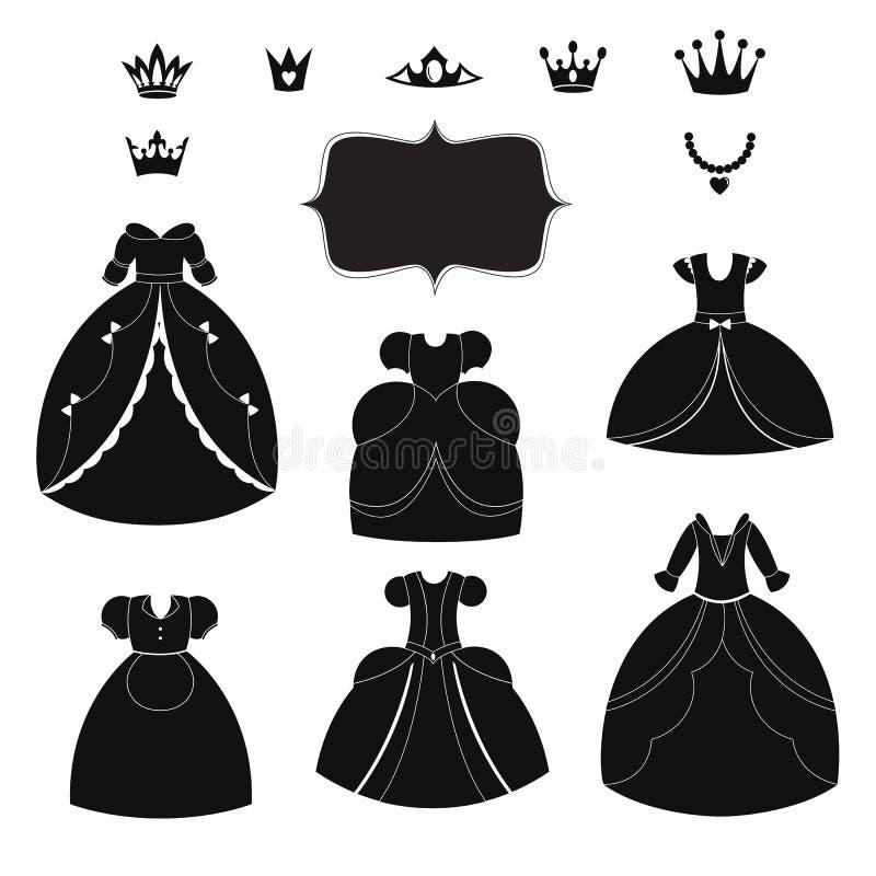 Prinzessinkleiderschattenbilder eingestellt Tragbare Schwarzweiss-Einzelteile der Karikatur vektor abbildung