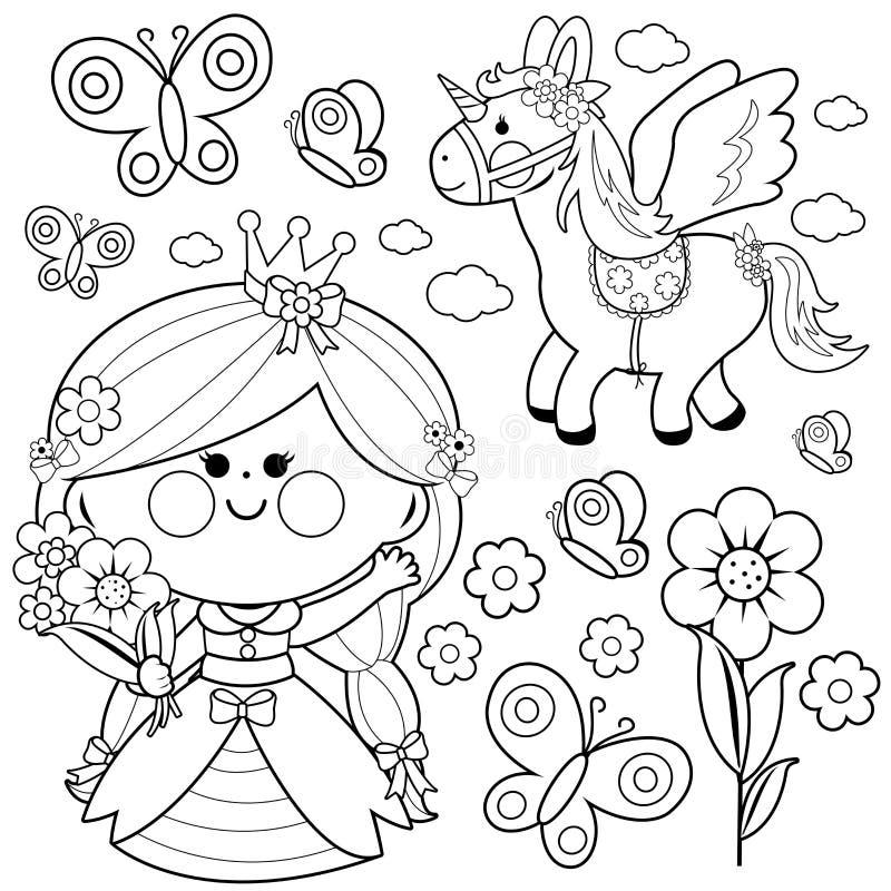 Prinzessinmärchensatz Farbtonseite lizenzfreie abbildung