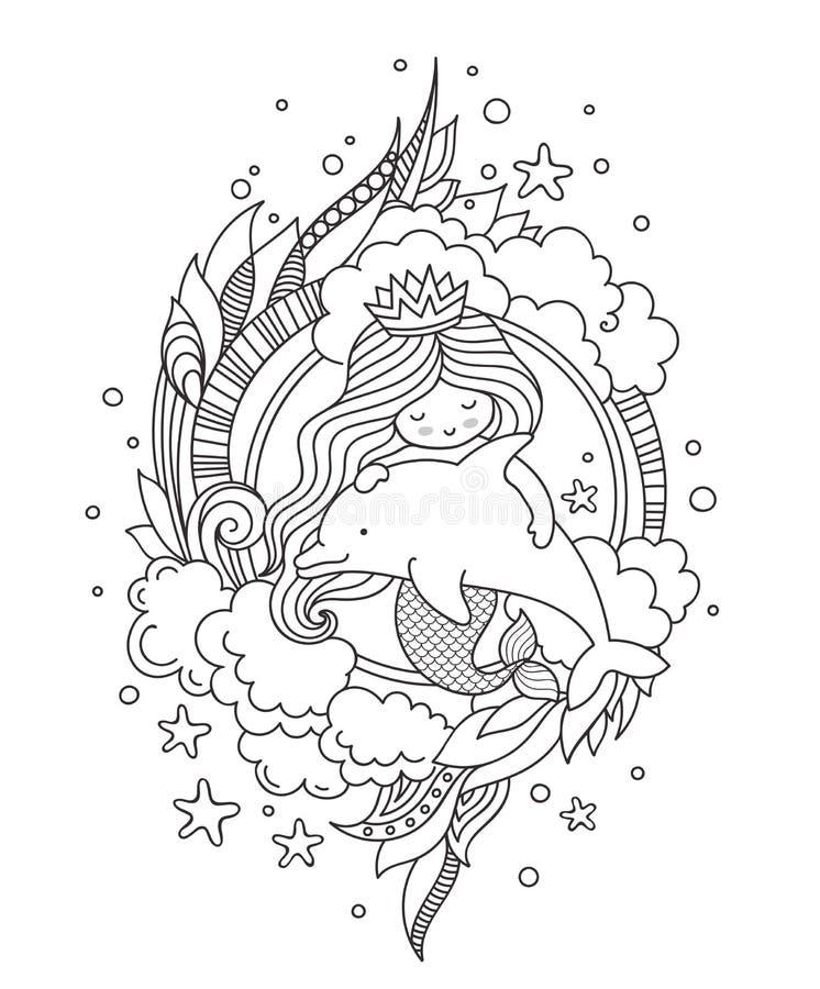Prinzessinmeerjungfrau, den netten kleinen Delphin umarmend, umgeben durch Wolken stock abbildung