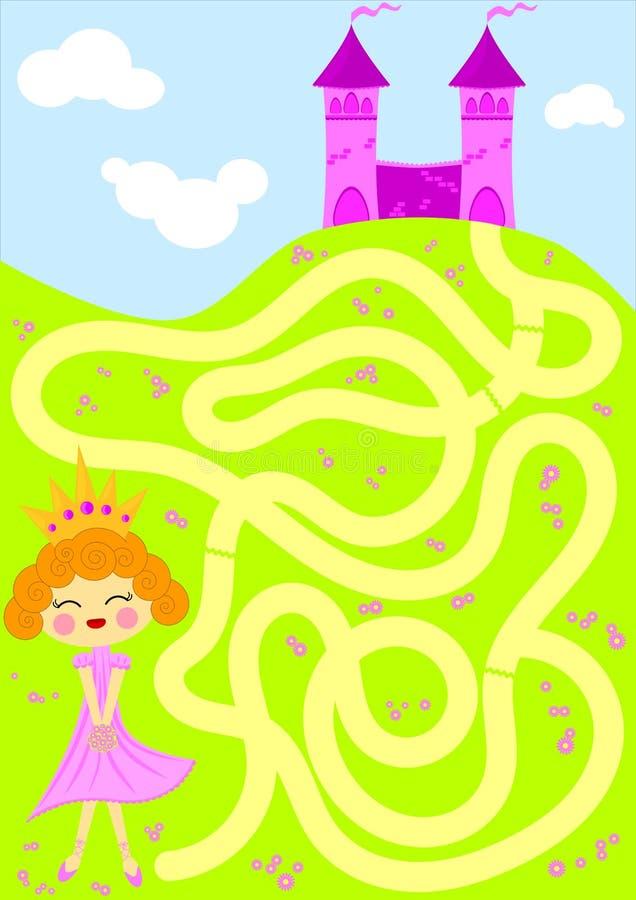 Prinzessinsammeln blüht Labyrinthspiel stock abbildung