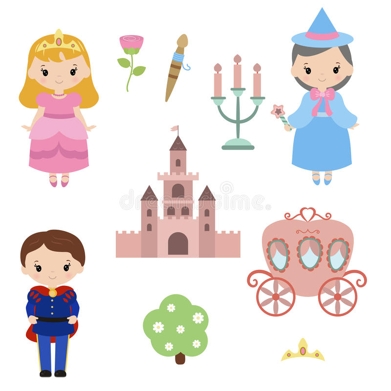 Prinzessinthema mit Schloss, Prinz, Wagen vektor abbildung
