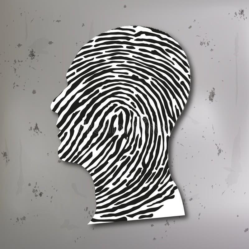 Prinzip der Verbrechensermittlung, die einen Fingerabdruck mit dem Profil des Mörders verbindet vektor abbildung