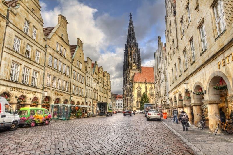 Prinzipalmarkt mainstreet Munster, Γερμανία στοκ εικόνες