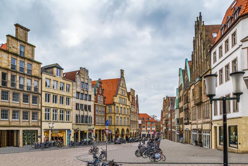 Prinzipalmarkt, Munster, Germany. Prinzipalmarkt is historic street with buildings with picturesque pediments attached to one another in Munster, Germany stock photo