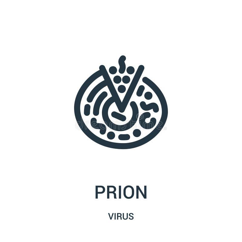 prion pictogramvector van virusinzameling De dunne lijnprion vectorillustratie van het overzichtspictogram stock illustratie