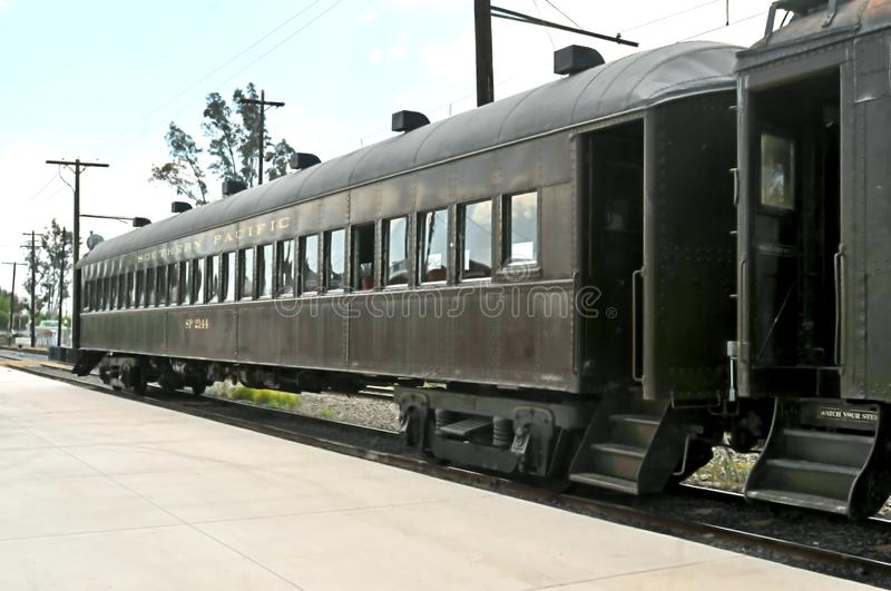 Southern Pacific Railroad Passenger Car. Prior to the advent of air travel, people by and large traveled by train in passenger cars like these at the Orange royalty free stock images