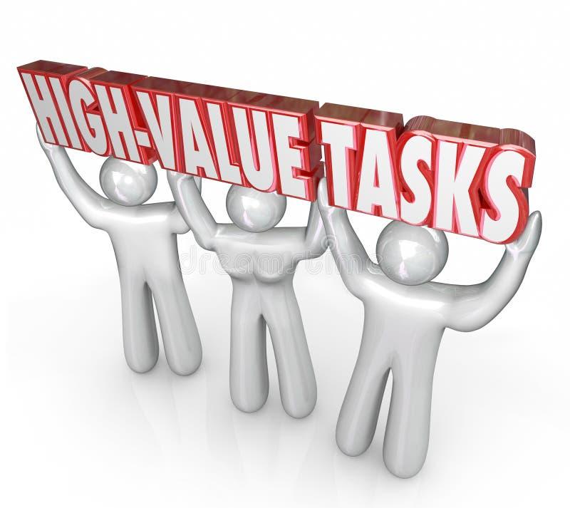 Prioridad de tareas del elevado valor la mayoría del ROI más grande de los trabajos importantes ilustración del vector