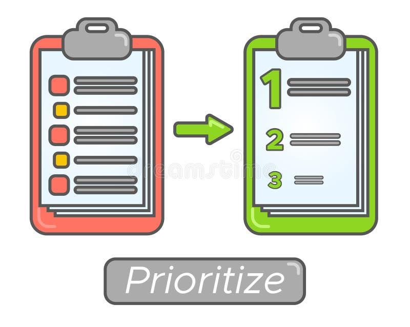 Prioridades de la meta de la gestión de tiempo Diseño de concepto del plan de la prioridad de tarea Dé prioridad al orden del día stock de ilustración
