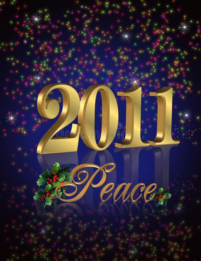priorità bassa 2011 di nuovo anno di pace illustrazione di stock