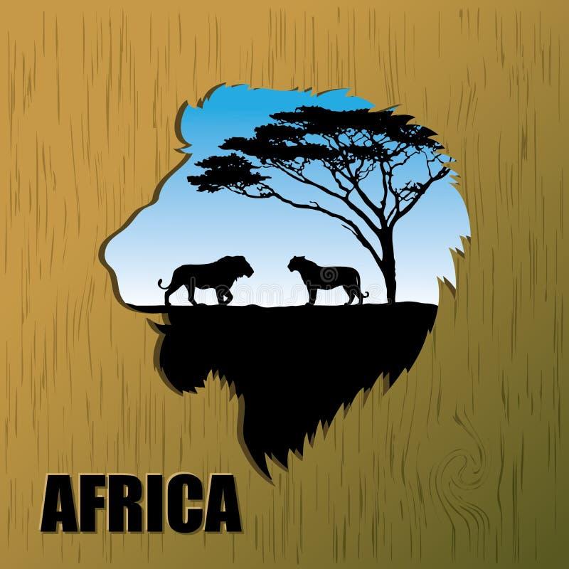 Priorità bassa africana dei leoni royalty illustrazione gratis