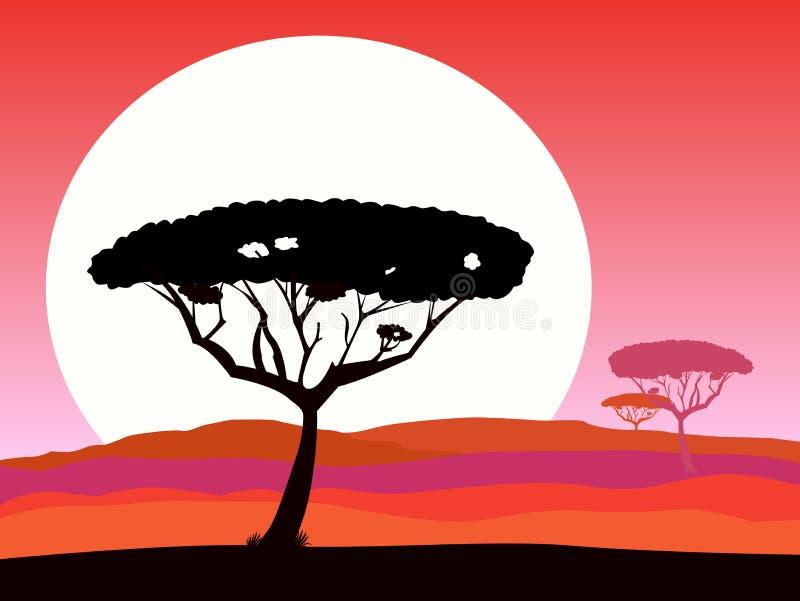Priorità bassa africana di safari con il tramonto rosso e l'albero illustrazione di stock