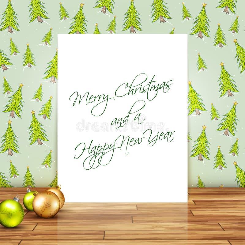 Priorità bassa anno felice di nuovo e di Buon Natale illustrazione di stock