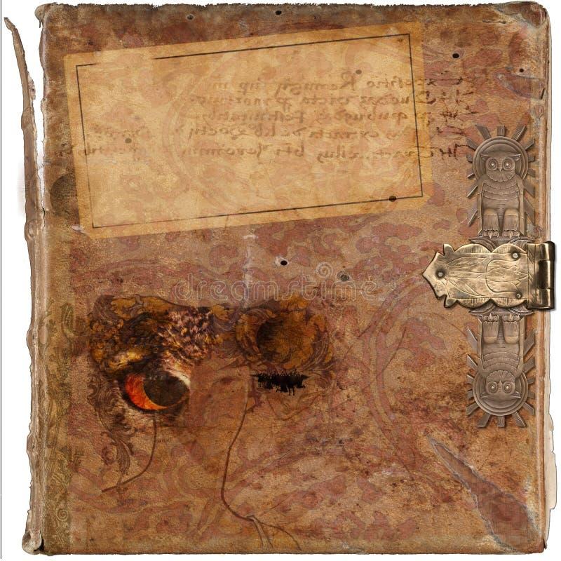 Priorità bassa antica del grunge del libro dell'annata di saggezza fotografia stock libera da diritti
