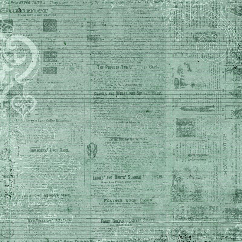 Priorità bassa antica del testo del giornale di verde blu royalty illustrazione gratis