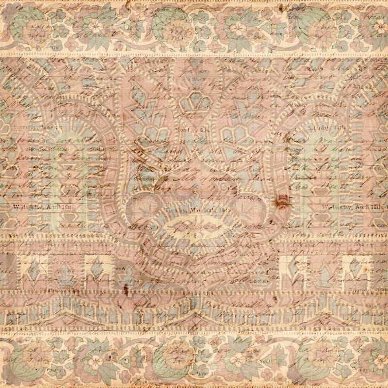 Priorità bassa antica dell'indiano di Paisley dell'annata fotografia stock