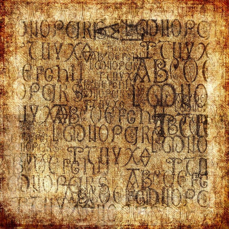 Priorità bassa antica di alfabeto fotografia stock
