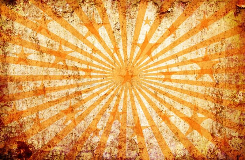 Priorità bassa arancione del grunge con i raggi e le stelle del sole illustrazione vettoriale