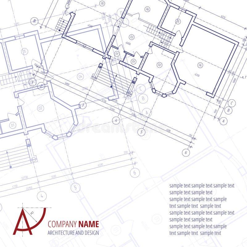 Priorità bassa architettonica Siluetta di piano della costruzione e società blu di architettura e di progettazione di logo della  illustrazione di stock