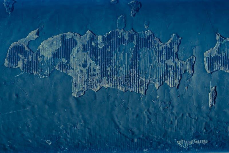 Priorità bassa arrugginita Vecchio di piastra metallica con la vernice brillante blu incrinata illustrazione vettoriale