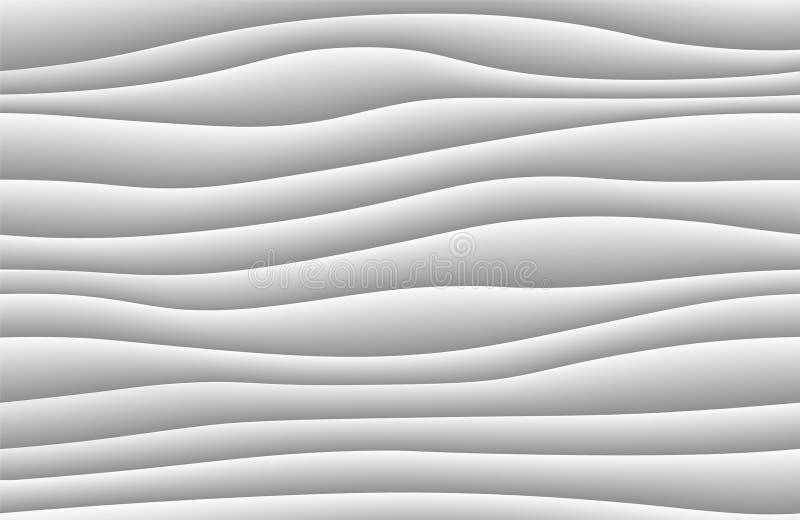 Priorità bassa astratta bianca dell'onda struttura del modello di onde 3d Carta da parati in bianco e nero geometrica Modello del royalty illustrazione gratis