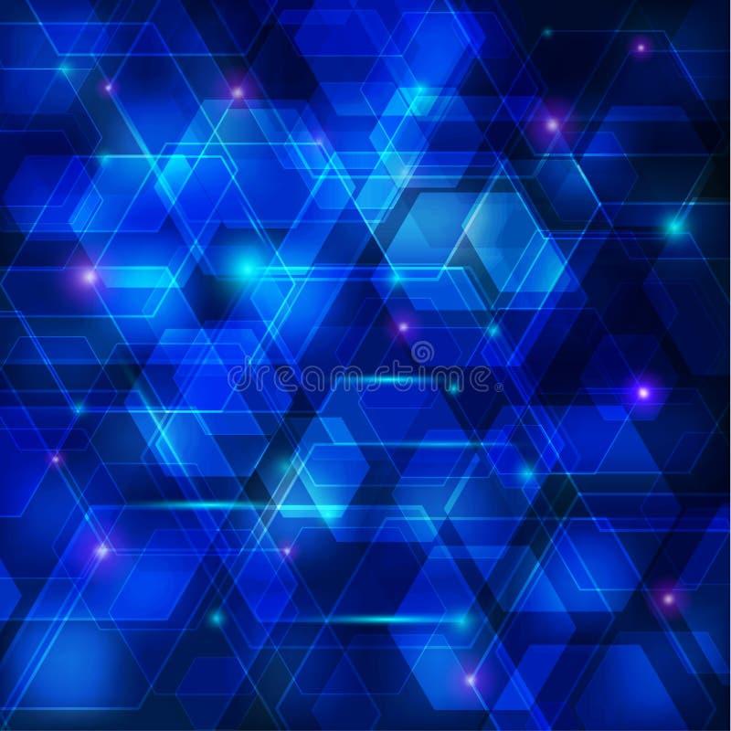 Priorità bassa astratta blu di techno illustrazione di stock