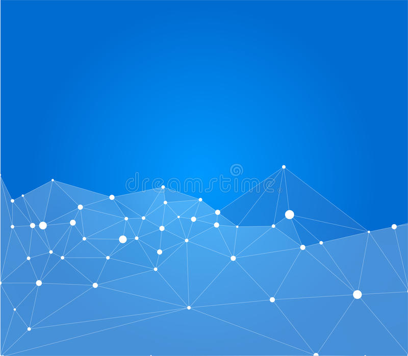 Priorità bassa astratta blu Punti collegati dalle linee royalty illustrazione gratis