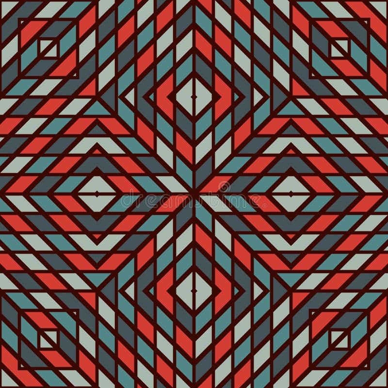 Priorità bassa astratta Checkered Carta da parati quadrata diagonale delle cellule di colore rosso e blu Reticolo senza giunte illustrazione vettoriale