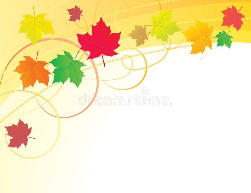 Priorità bassa astratta con i fogli di autunno royalty illustrazione gratis