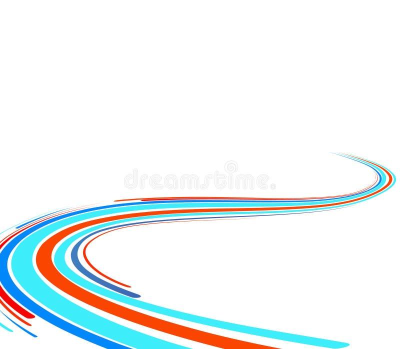 Priorità bassa astratta con le righe blu e rosse illustrazione vettoriale