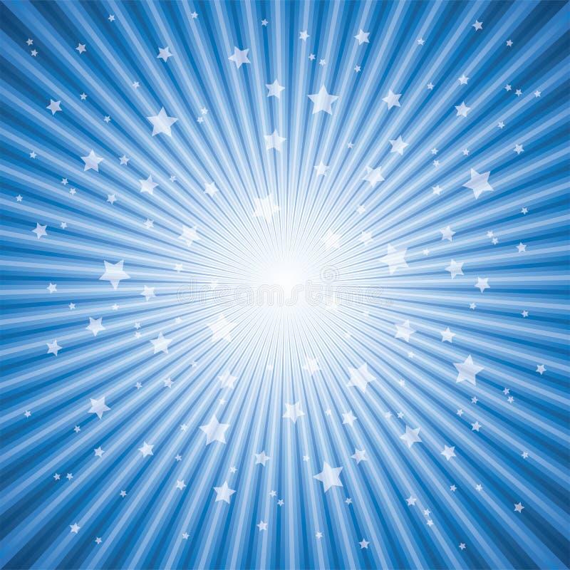 Priorità bassa astratta del burst della stella blu illustrazione vettoriale