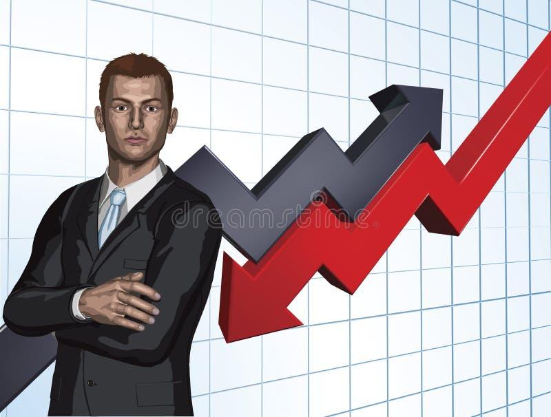 Priorità bassa astratta del grafico della freccia dell'uomo d'affari illustrazione vettoriale
