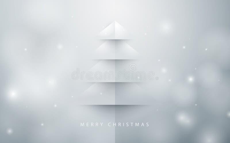 Priorità bassa astratta dell'albero di Natale stile di carta di arte illustrazione vettoriale