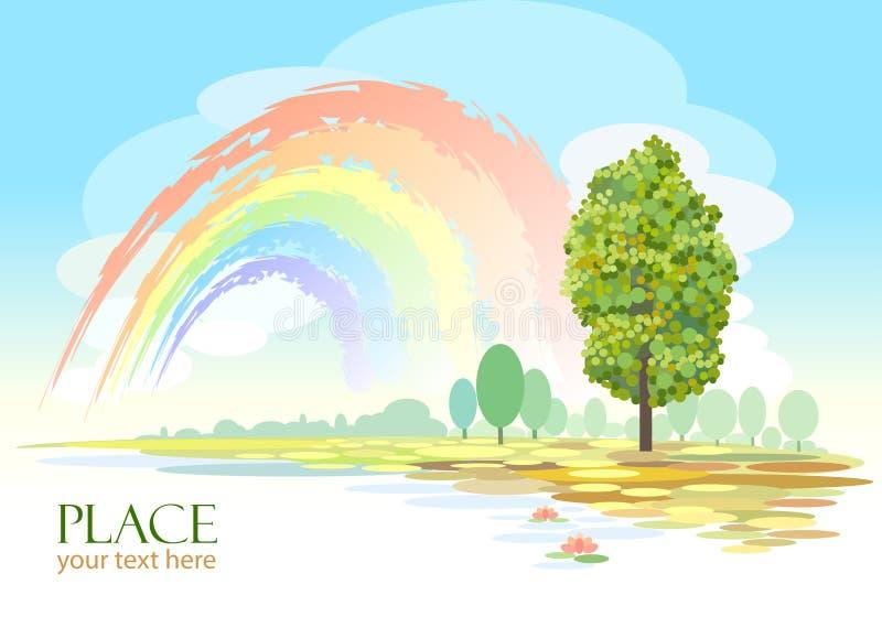 Priorità bassa astratta dell'albero e del Rainbow royalty illustrazione gratis
