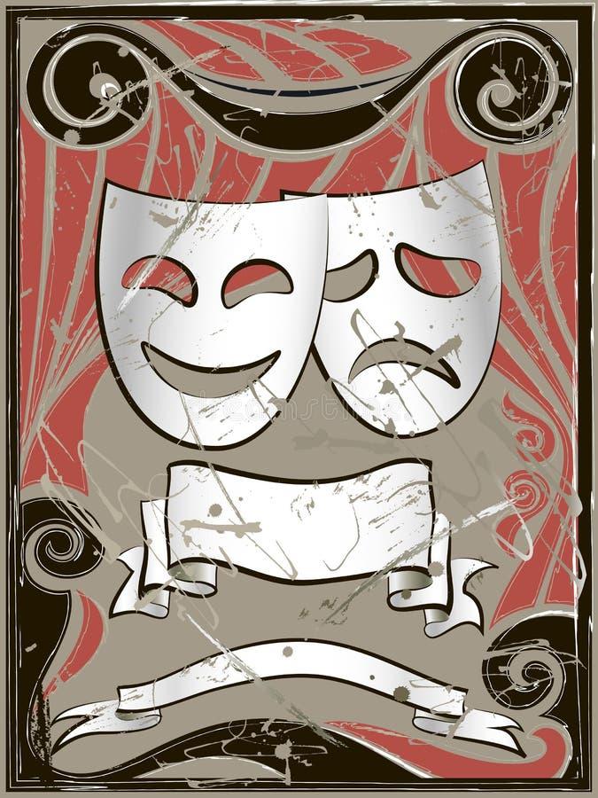 Priorità bassa astratta dell'annata con le mascherine del teatro royalty illustrazione gratis