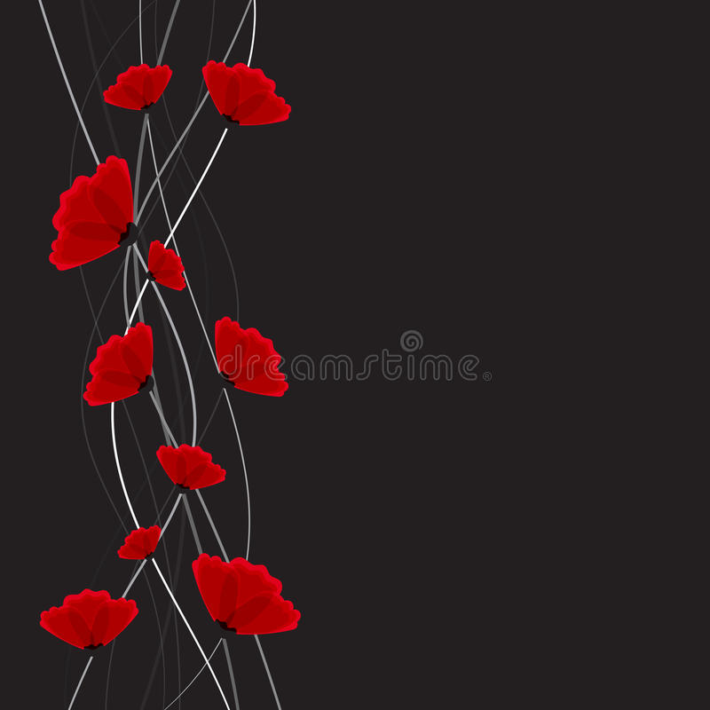 Priorità bassa astratta della natura Fiori rossi del papavero illustrazione vettoriale