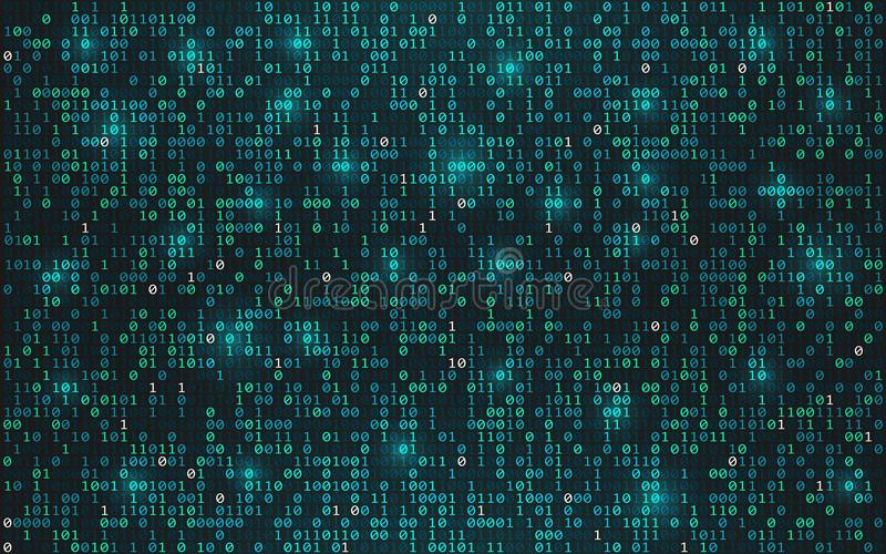 Priorità bassa astratta di codice binario Concetto di dati di Digital Cifre scorrenti luminose con le luci sul contesto scuro fut illustrazione di stock