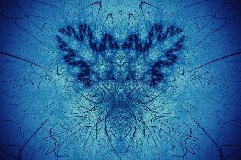 Priorità bassa astratta di frattalo Golowich altamente dettagliato del fondo e toni blu con gli elementi delle spirali, delle lin fotografie stock libere da diritti