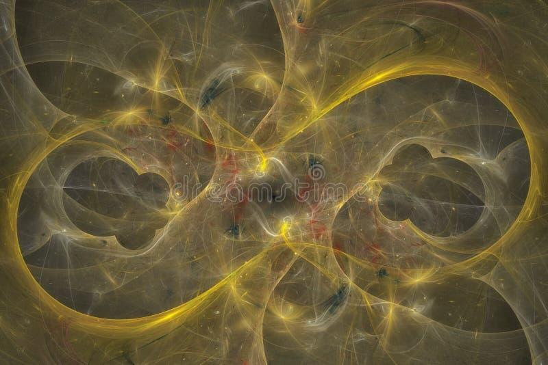 Priorità bassa astratta di frattalo Il fondo altamente dettagliato in arancia ed oro tonifica con gli elementi delle spirali, del immagini stock libere da diritti