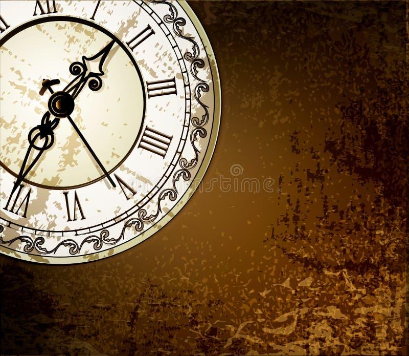 Priorità bassa astratta di Grunge con gli orologi antichi illustrazione vettoriale