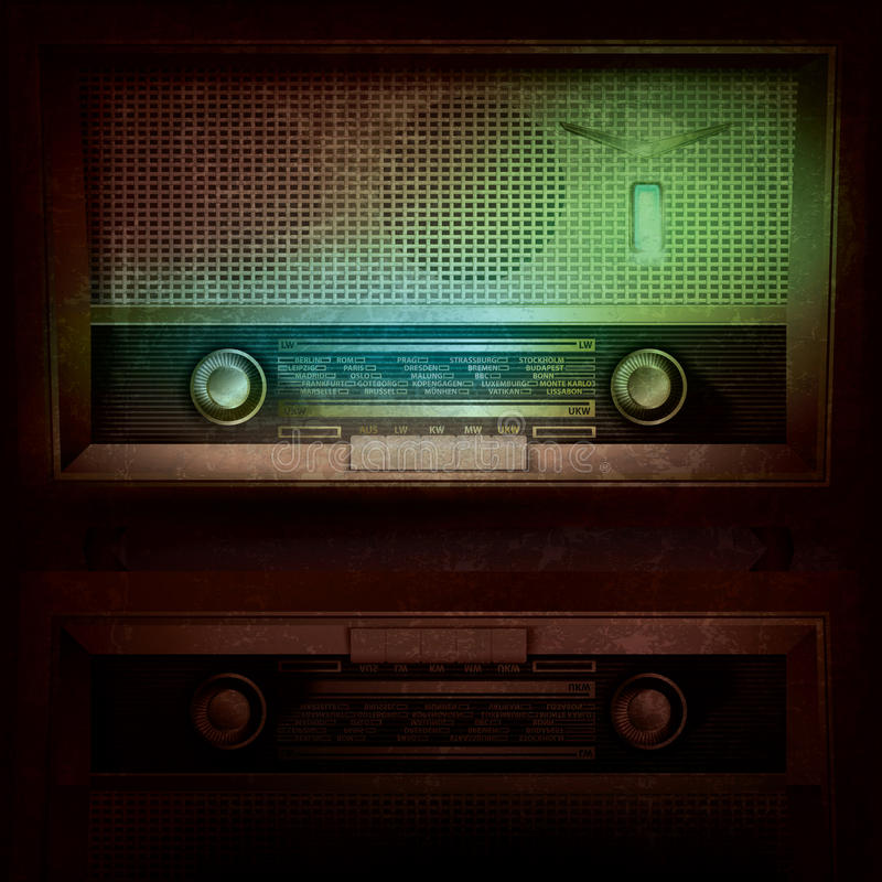 Priorità bassa astratta di musica con la retro radio illustrazione di stock