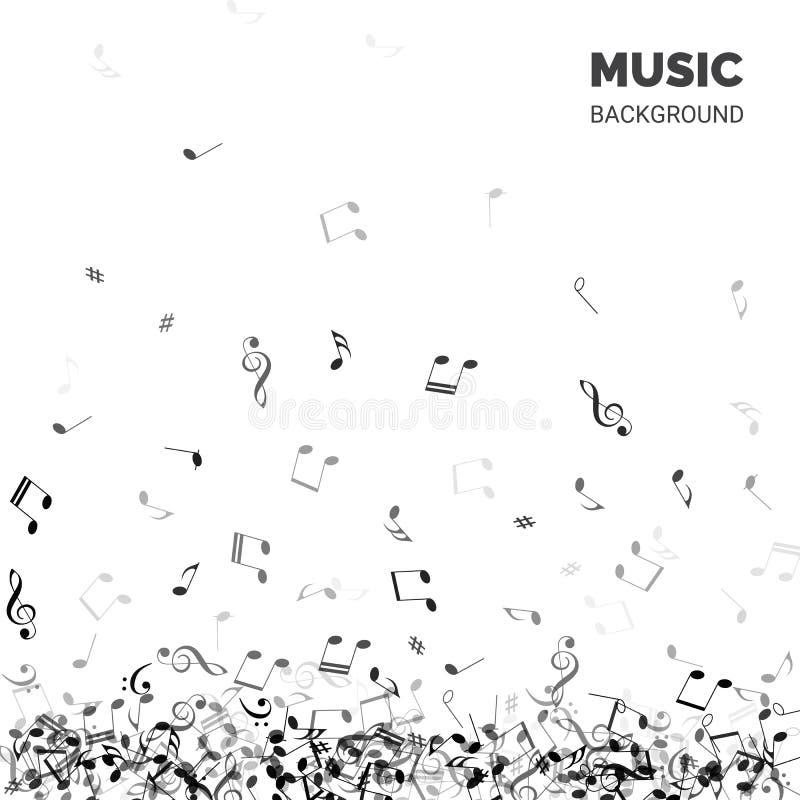 Priorità bassa astratta di musica di vettore Testo del fondo di musica con le note di caduta illustrazione vettoriale