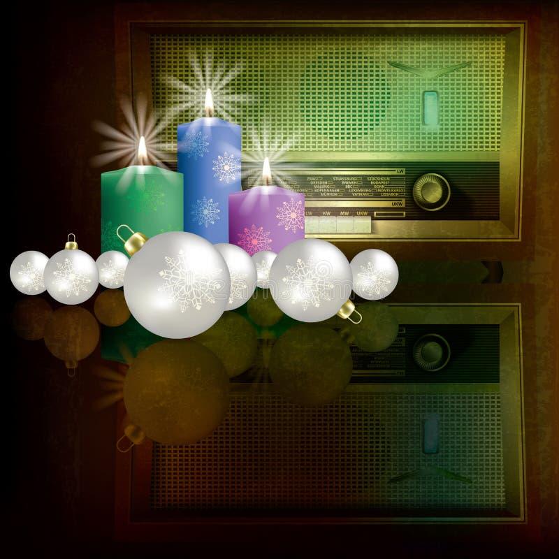 Priorità bassa astratta di natale con la retro radio illustrazione di stock