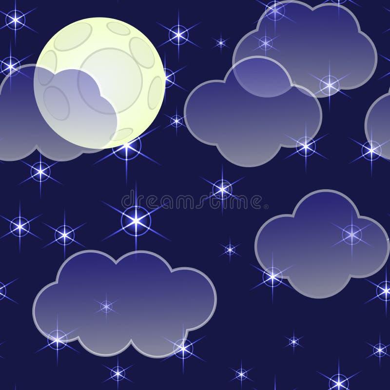 Priorità bassa astratta di notte con le nubi e le stelle illustrazione vettoriale