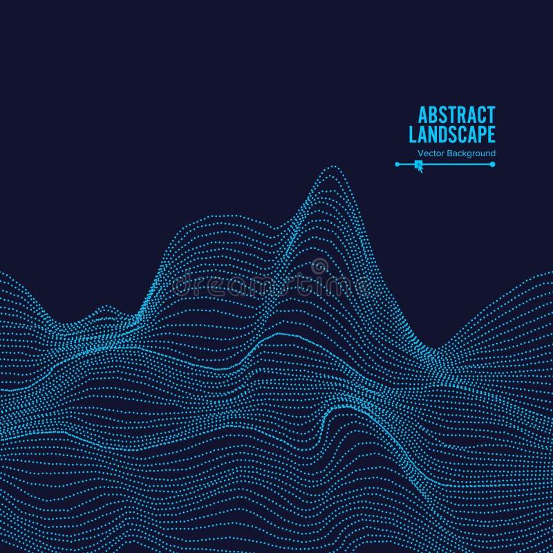 Priorità bassa astratta di paesaggio Cyberspace con le particelle dinamiche Illustrazione di vettore illustrazione vettoriale