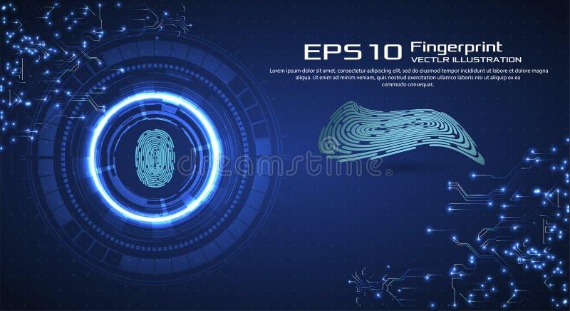 Priorità bassa astratta di tecnologia Concetto cyber di obbligazione Ricerca del dito nello stile futuristico Identificazione bio illustrazione vettoriale