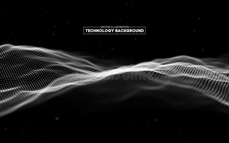 Priorità bassa astratta di tecnologia Griglia del fondo 3d Wireframe futuristico di tecnologia di Ai di tecnologia della rete cyb illustrazione di stock