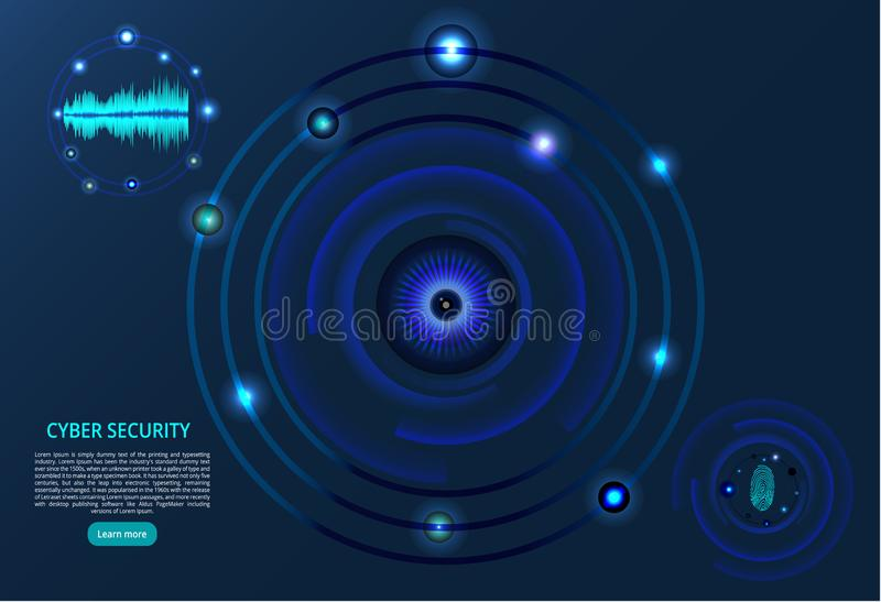 Priorità bassa astratta di tecnologia Il concetto del cybersecurity Impronta digitale, occhio e ricerca di voce - illustrazione d royalty illustrazione gratis