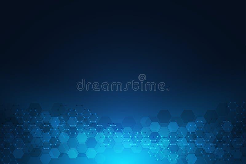 Priorità bassa astratta di tecnologia Struttura geometrica con le strutture molecolari e l'ingegneria chimica Estratto royalty illustrazione gratis
