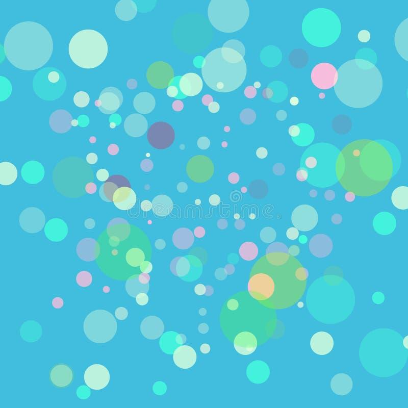 Priorità bassa astratta di verde di vettore Luci vaghe multicolori con effetto del bokeh L'immagine assomiglia alle bolle di sapo illustrazione vettoriale